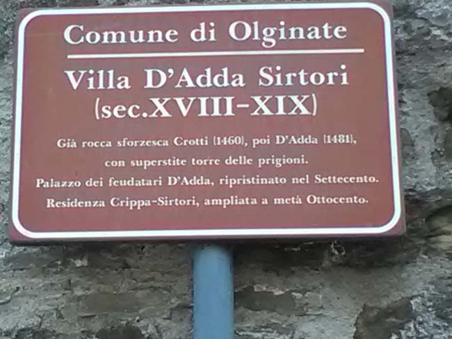 Olginate Villa dAdda Sirtori Cartello